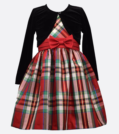 plaid holiday dress with matching velvet cardigan.