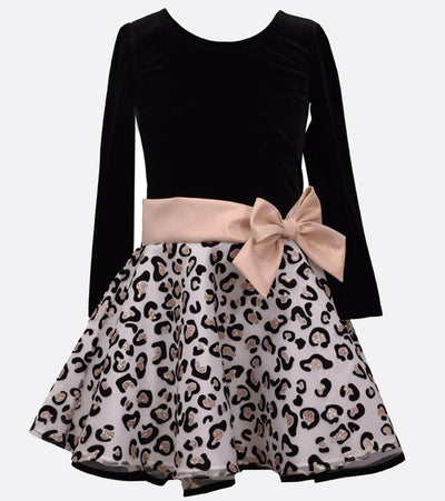 Long sleeve stretch velvet and cheetah glitter organza skirt with side bow