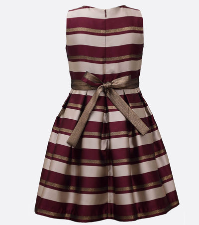 little girls stripe Christmas dress with bow at waist