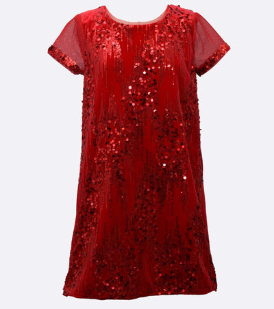 girls sparkle shift party dress with illusion sleeve detail