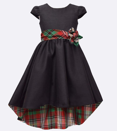 Tween Girls Christmas Dress Hi Low with Plaid Lining