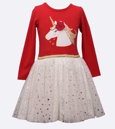 unicorn tutu dress with flower applique and gold star tutu skirt