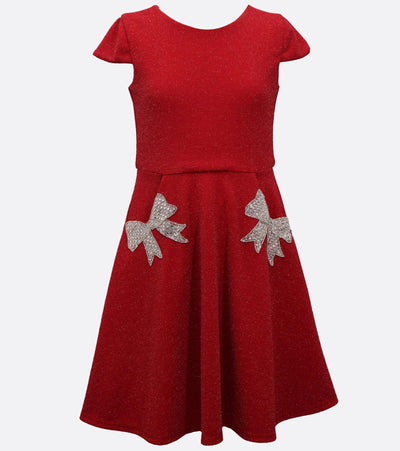 Red tween girls Christmas dress with rhinestone bow pockets