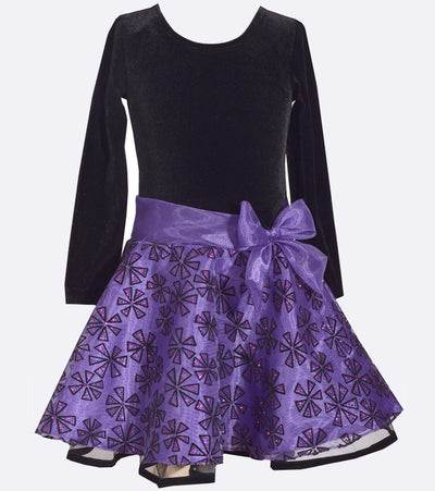 Purple Long Sleeve Organza Plus Size Party Dress