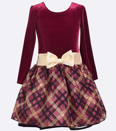 Drop Waist Velvet and Plaid Dress, Plus size party dress, Plus size girls dresses