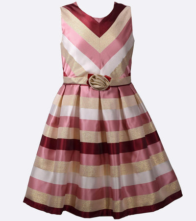 Pink and Berry Chevron Party Dress, Girls Plus Size Dresses, Plus Size Girls Dresses