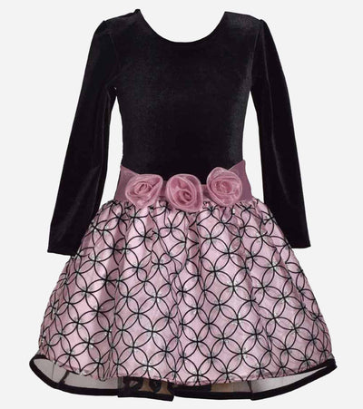 Long Sleeve Velvet Organza Plus Size Party Dress, plus size dresses for girls