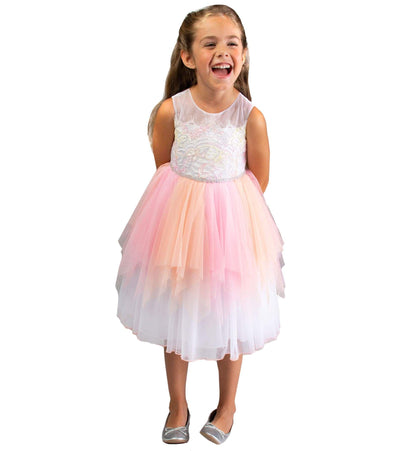 Girls party dress with neon hanky hem