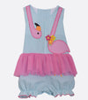 flamingo coverall, summer outfit, girls summer outfit