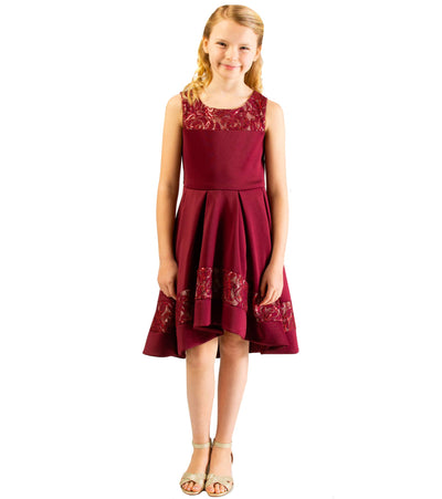 Girls Scuba Plus Size Party Dress with Sequin Lace Accents