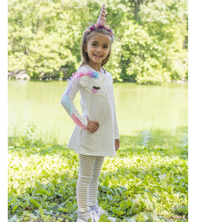 Rainbow unicorn applique legging set for little girls
