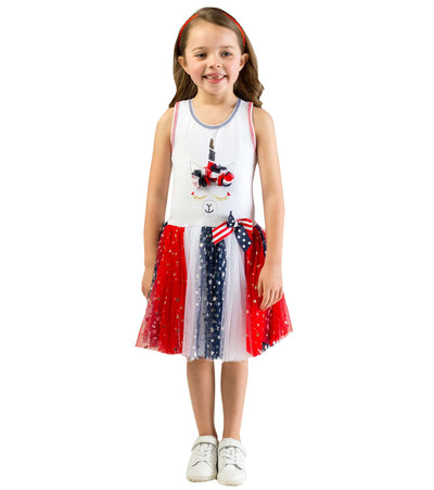 unicorn, americana, girls americana dress, red white and blue, sister style, matching sister dress