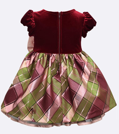 Baby Girl's Christmas Dress Stretch Velvet to Plaid