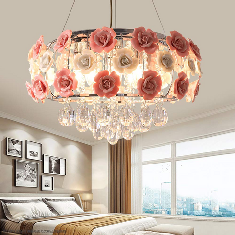 """4-Light 19.68"""" Modern Romantic Ceramic Crystal Pendant Lamp Dimming with Remote Control"""