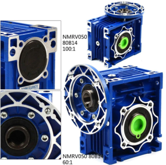 Worm Gearbox, Speed Ratio 100: 1, Single Step Reducer Motor 1400r/min Matched with 4 Poles Motor