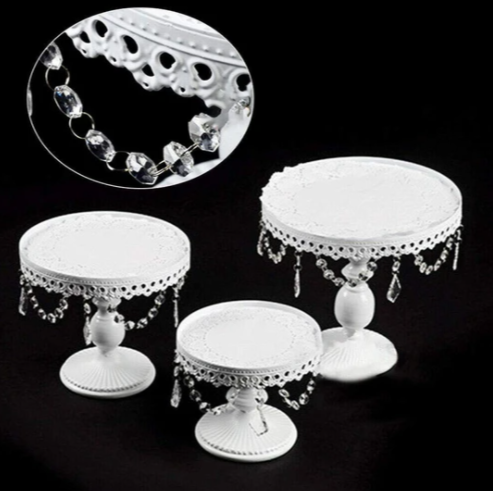 Cake Stands - 3pcs Metal Crystal Cake Holder Cupcake Stands with Pendants and Beads