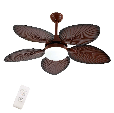 52 Inch Retro Ceiling Fan with Light LED Chandelier with Remote Control