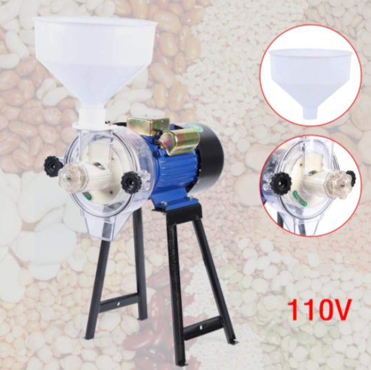 140 Electric Grinder Machine-110V Electric Mill Wet Cereals Grinder Rice Corn Grain Wheat Oats Feed Soybeans Mill with Funnel
