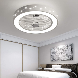 """21.6""""Ceiling Fan with Lights, Enclosed Round LED Ceiling Lighting Fan with Invisible Blades"""
