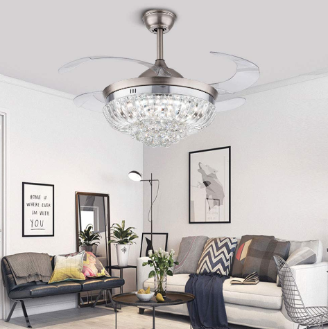 Modern Crystal Ceiling Fan with 3 Colors Lighting Dimmable Remote Chandelier Fixture Retractable Invisible Blades