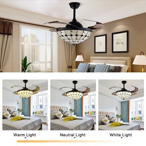 CNCEST 42 Inch Modern Retractable Ceiling Fan Light with Remote Control