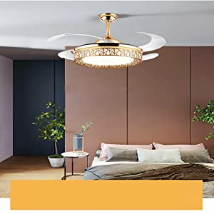 42 Inch Modern Golden Invisible Ceiling Fan
