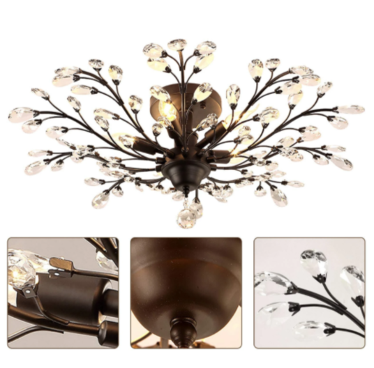 Crystal Flower Ceiling Lamp Metal Branches Close to Ceiling Light for Dining Living Bedroom Ceiling Lamps Indoor