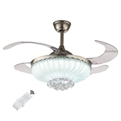 42 Inch Fan Chandelier with Remote Control - Crystal Silver & Tri-color Dimming