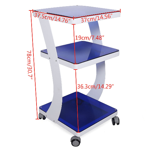 4 Wheel Trolley, 3 Layer Salon Trolley Stand Medical Rolling Carts for Spa Beauty