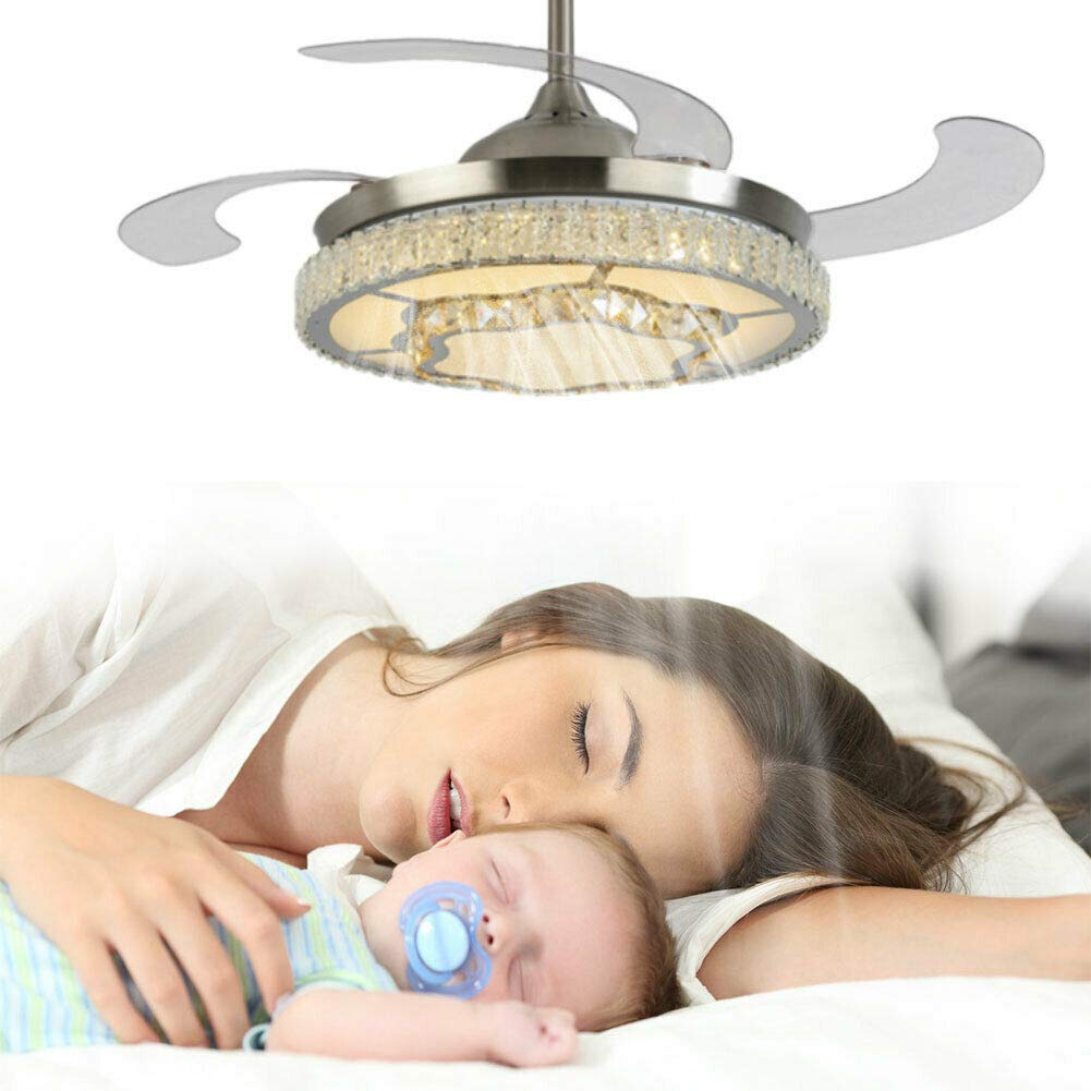silver fan chandelier - three color dimming with remote control