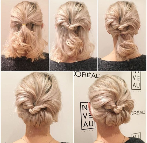 Twisted and Folded Low Hairdo