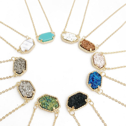 Gold Plated Druzy Hexagon Necklace