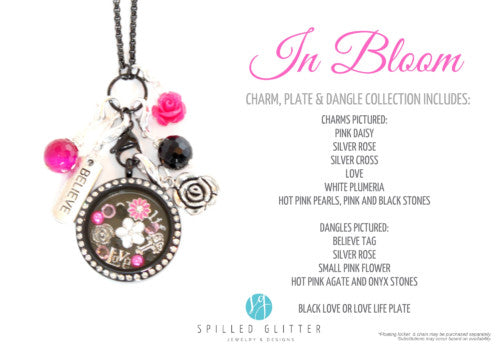 In Bloom Floating Locket Charm Dangle Plate Collection Set