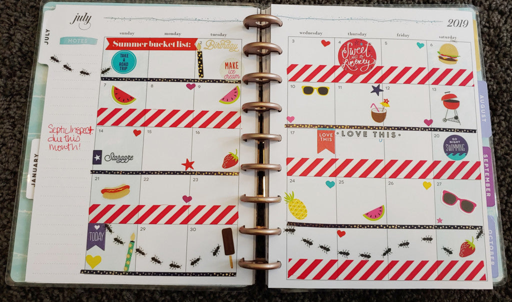 July Full Month Planner Spread MAMBI Example