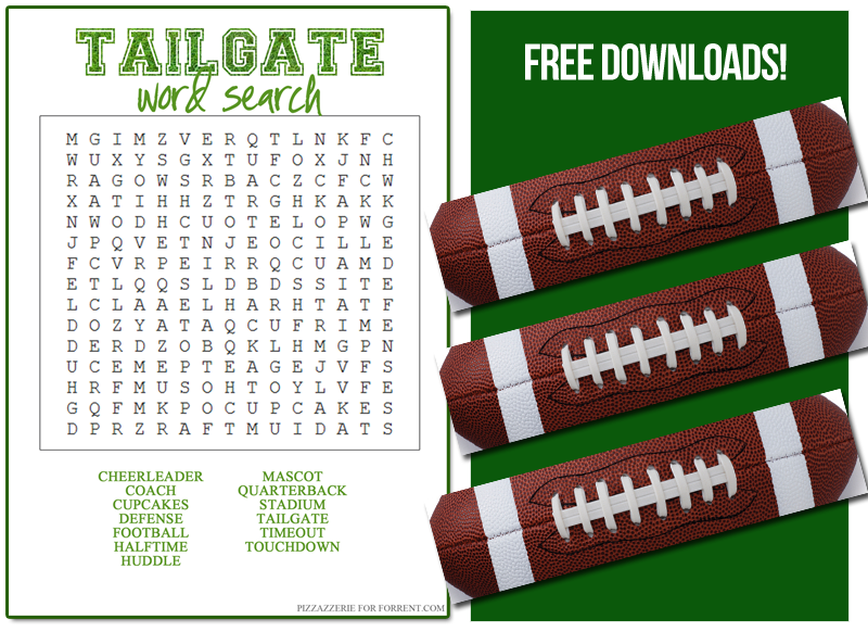 Tailgating Word Search and Sandwich Wrap Printable by ForRent.com