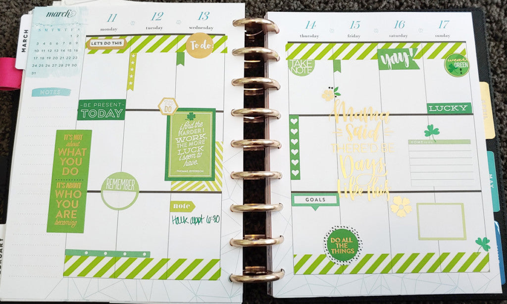 St. Patrick's Day March Weekly Planner Spread