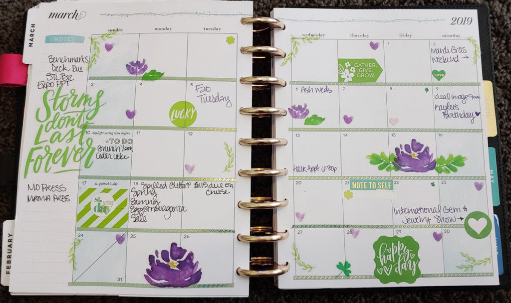 MArch 2019 Create 365 Happy Planner Monthly Spread