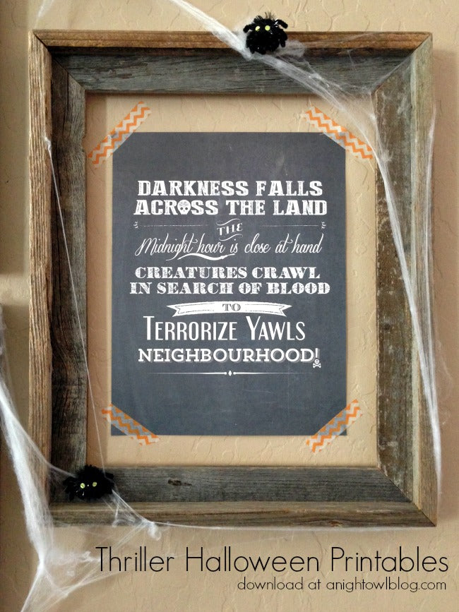 Thriller Chalkboard Printable from a Night Owl.