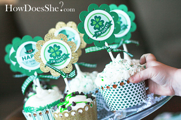 How Does She? St. Patrick's Day Cupcake Toppers