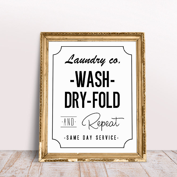 Wash Dry Fold and Repeat Laundry Room Printable by The Cottage Market