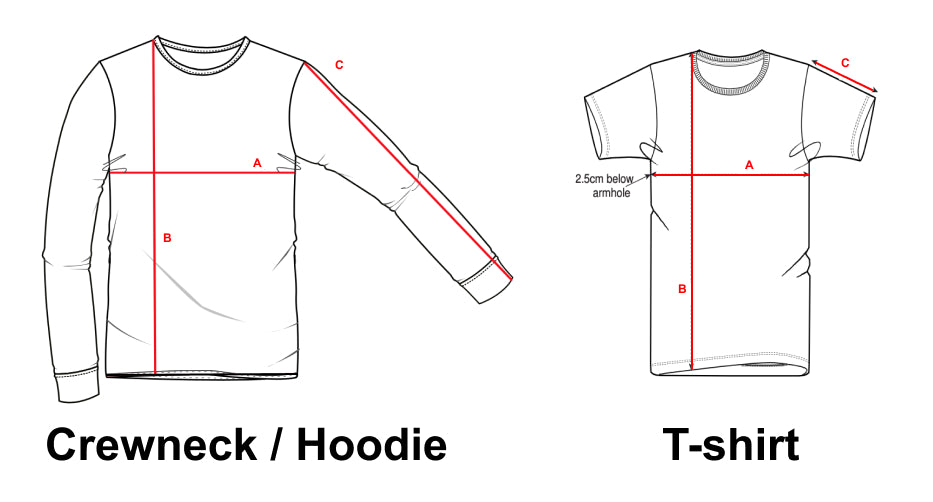 Sizing guide for Identities Brand