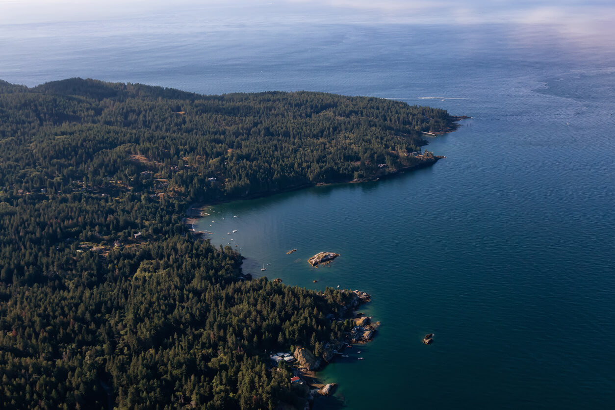 Aerial view of Bowen Island, Vancouver