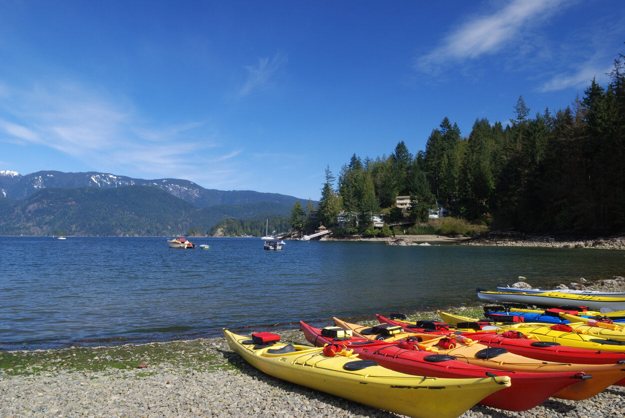Deep Cove, Vancouver with kayaks on the shore