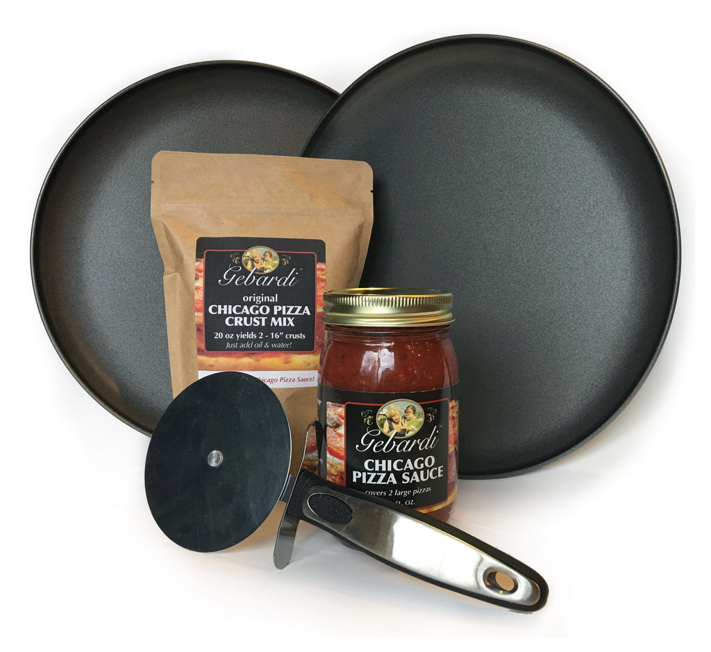 Family Chicago Pizza Night Kit - with Pizza Pans, Pizza Cutter, Pizza Crust Mix and Pizza Sauce
