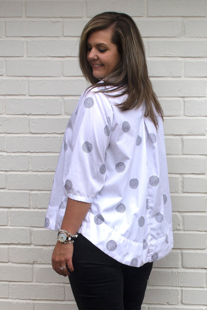 Alice Tunic - White Thumbprint by Tulip Clothing