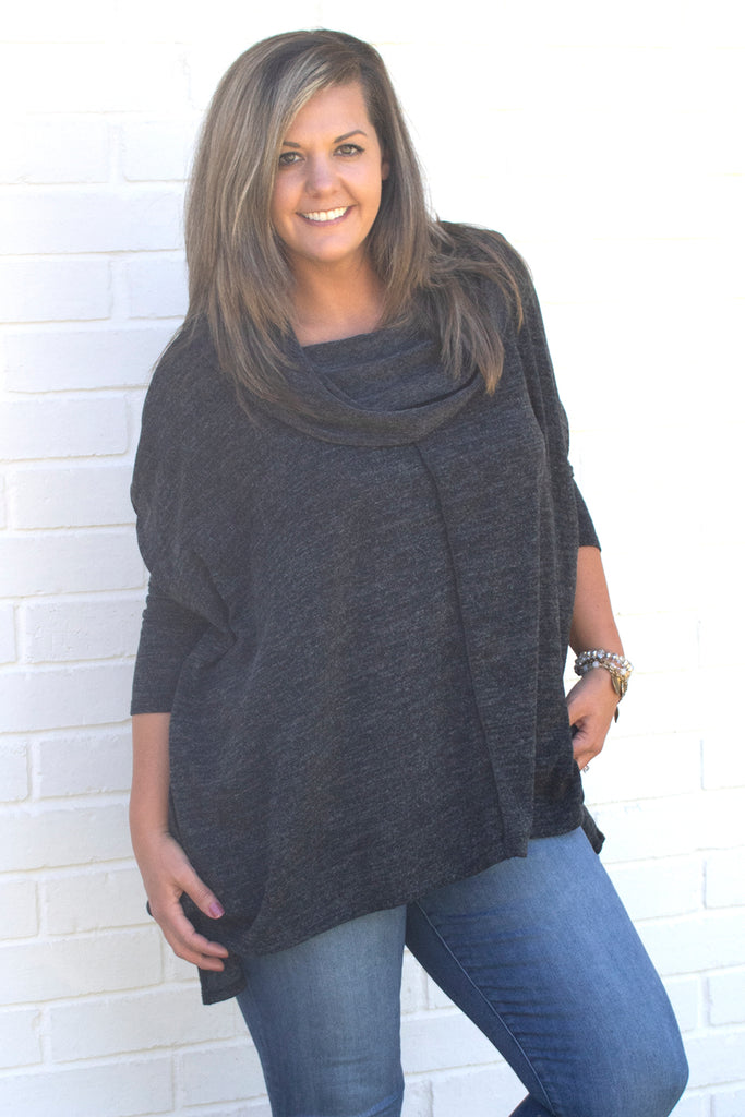 Bessie Cowl Neck Top - Charcoal