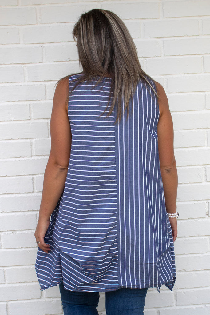 Cafe Tunic - Nantucket Stripe by Tulip Clothing