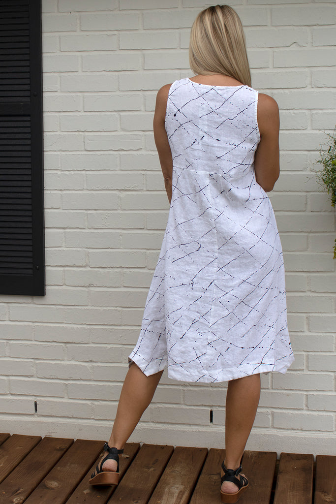 Folly Dress - White Ink Spot by Snapdragon & Twig