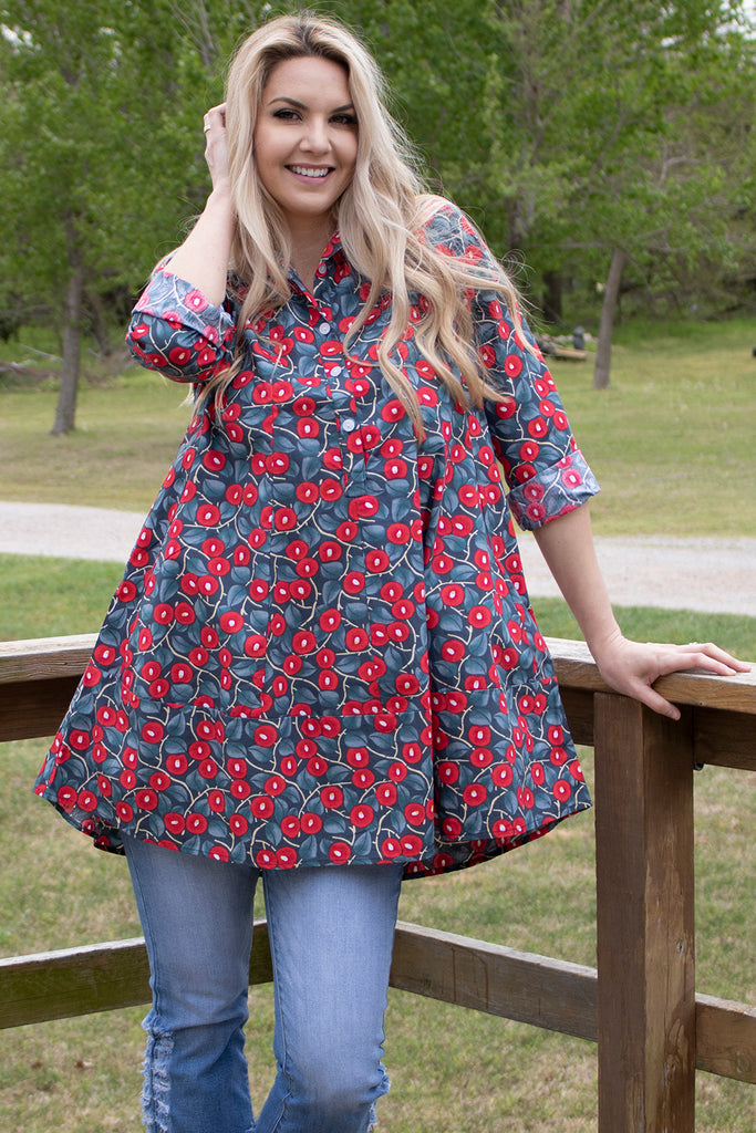 Gillian Shirt - Poppy Vine by Tulip Clothing, Clothing Type - Tops & Blouses, Tulip Clothing- Apparel Garden