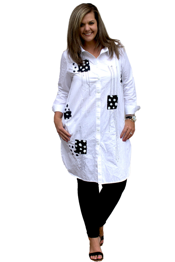 Harley Tunic - White Doodle Dot by Tulip Clothing